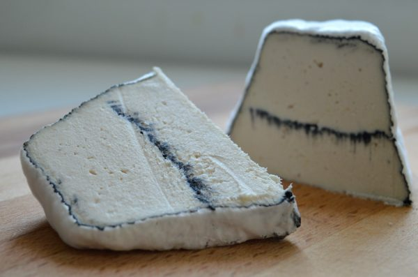 Almond and cashew cheese with activated vegetable ash
